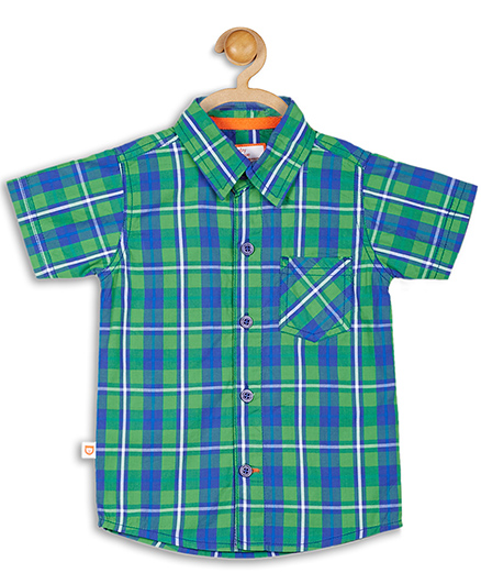 Baby League Cotton Checks Shirt - Green And Blue