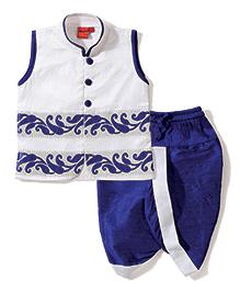 Ethnik's Neu Ron Embroidered Kurta & Dhoti Set - White & Royal Blue