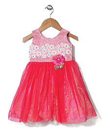 Bluebell Sleeveless Designer Party Wear Frock With Floral Applique - Coral
