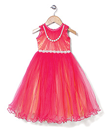 Bluebell Sleeveless Party Wear Frock With Attached Pearl - Dark Pink