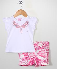 Miss Pretty Top & Shorts Set - Pink & White
