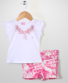 Miss Pretty Top & Shorts Set - Pink & White