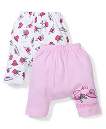 Babyhug Diaper Leggings Set of 2 Hat Print - White And Pink