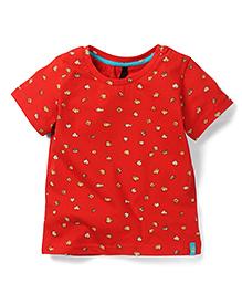 UCB Short Sleeves T-Shirt Popcorn Print - Red
