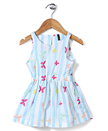 UCB Sleeveless Butterfly Print Frock - Sky Blue & White