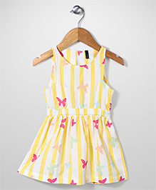 UCB Sleeveless Butterfly Print Frock - Yellow & White