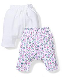 Babyhug Diaper Leggings Set of 2 Printed - White