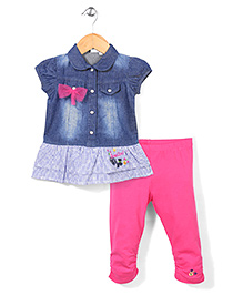 Miss Pretty Top & Leggings Set - Pink & Navy Blue