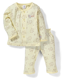 ToffyHouse Full Sleeves Night Suit Lion Print - Yellow