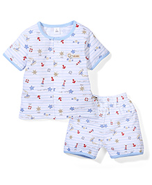 ToffyHouse Half Sleeves Night Suit Anchor Print - White & Blue