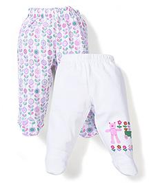 Babyhug Bootie Leggings Set of 2 Floral Print - White