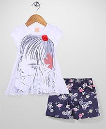 Miss Pretty Top & Shorts Set - Navy Blue & White