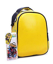 The Eed Star & Dot Print Design School Bag Blue &Yellow - 11 inch