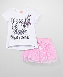 Miss Pretty Cat & Flower Print Top & Skirt Set - White & Pink