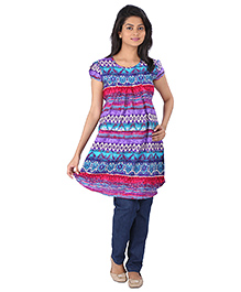 MomToBe Half Sleeves Maternity Kurti Multi Print - Multi Color