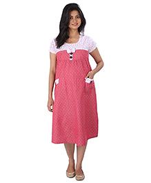 MomToBe Half Sleeves Maternity Dress Bow Applique - Pink
