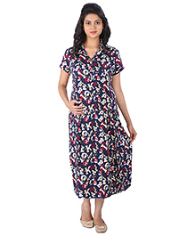 MomToBe Half Sleeves Maternity Dress Alphabets Print - Blue