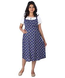 MomToBe Half Sleeves Maternity Dress Floral Print - Blue