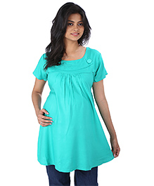 MomToBe Half Sleeves Maternity Top - Green
