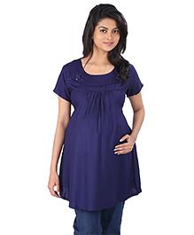 MomToBe Half Sleeves Maternity Top - Blue