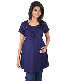 MomToBe Half Sleeves Maternity Top - Blue