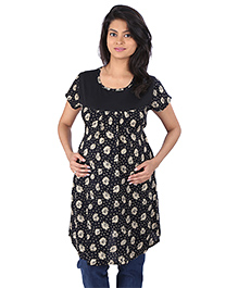 MomToBe Half Sleeves Maternity Top Floral Print - Black
