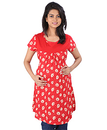 MomToBe Half Sleeves Maternity Top Floral Print - Red