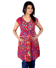 MomToBe Half Sleeves Maternity Kurti Multi Print - Red Green