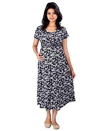 MomToBe Half Sleeves Maternity Dress Floral Print - Black