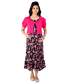 MomToBe Maternity Dress With Shrug Floral Print - Pink And Black