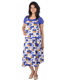 MomToBe Half Sleeves Maternity Dress Multi Print - Blue