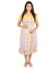 Momtobe Yellow Checks Maternity Dress l Cotton