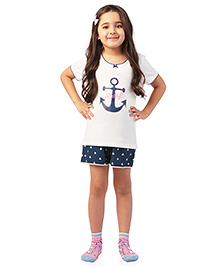 De-nap Ahoy!! Print Tee & Shorts Set - White & Navy