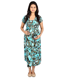 MomToBe Half Sleeves Maternity Dress Floral Print - Green