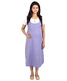 MomToBe Half Sleeves Maternity Dress - Purple