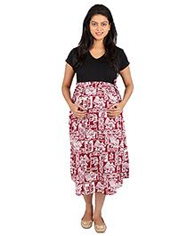 MomToBe Half Sleeves Maternity Dress Multi Print - Black and Red