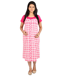 MomToBe Half Sleeves Maternity Dress Checks Print - Pink