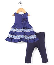 Miss Pretty Flower Print Dress & Leggings Set - Navy Blue