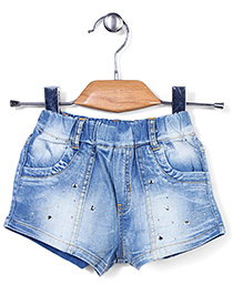 Little Denim Store Washed Denim Shorts - Blue