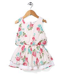 Miss Pretty Floral Print Dress - Cream & Pink