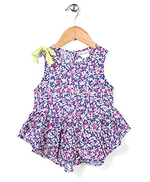Candy Hearts Pretty Floral Dress - Pink & Blue
