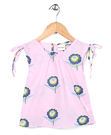 Candy Rush Sleeveless Top With Floral Design - Pink