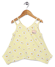 Candy Rush Lovely Floral Print Top - Yellow