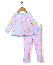 Happi by Dena Attractive Top & Leggings Set - Aqua Blue & Pink