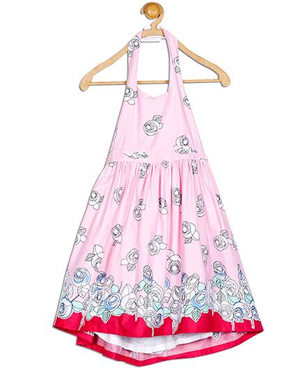 612 League Rose Print Halter Dress - Pink
