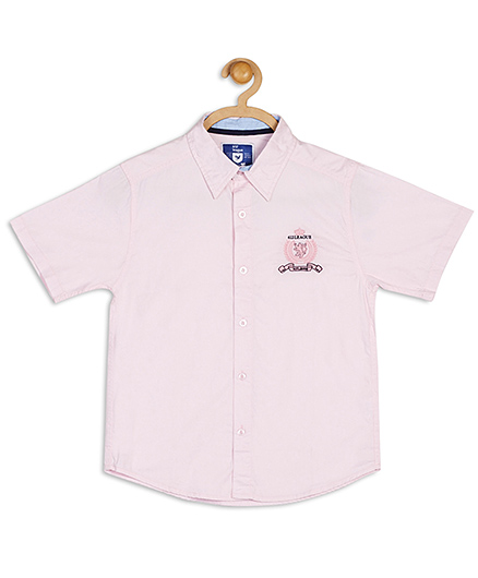 612 League Solid Chambray Half Sleeves Shirt - Light Pink