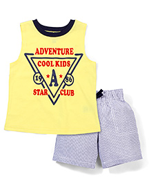 Candy Hearts Adventure Cool Kids Print Tee & Shorts Set - Yellow & Grey