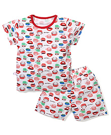 Urban Fashion Cat Print Top And Shorts Set - Red & White