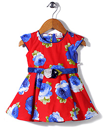 Rosy Bow Cap Sleeves Frock Floral Print - Red