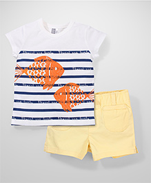 Wonderchild Fish Print T-Shirt & Shorts - White & Yellow